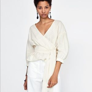 Zara Textured Wrap Cropped Blouse Sheer Ivory NWT